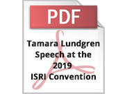 Tamara Lundgren's speech at the 2019 ISRI Convention